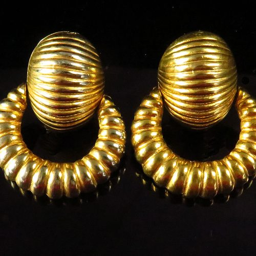 Kenneth Lane Hanging Ribbed Earrings