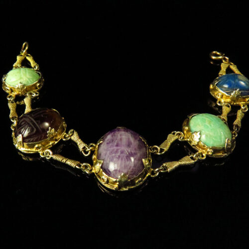Arts & Crafts Silver Gilt Gemstone Scarab Bracelet