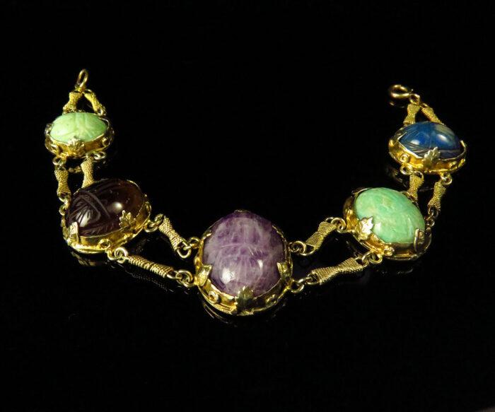 Arts & Crafts Silver Gilt Gemstone Scarab Bracelet