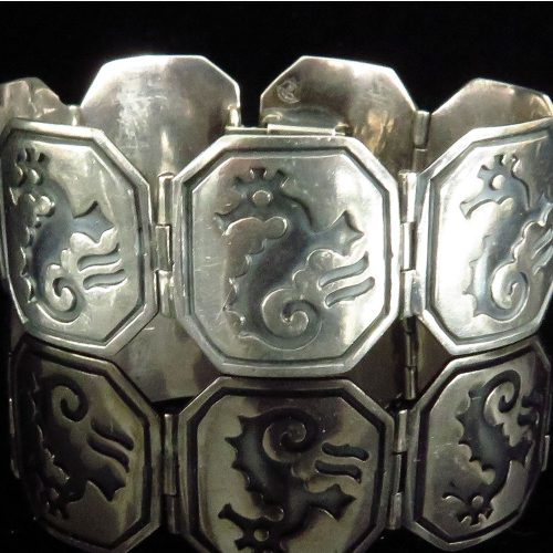 Sterling Mexican Bracelet with Seahorses by Pedro Castillo