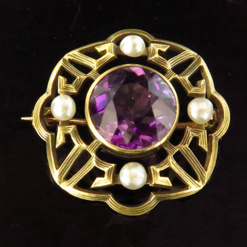 Gold Amethyst and Pearls Brooch by Newark Jeweler