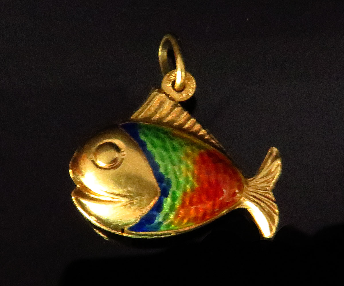 Gold and enamel Fish Charm