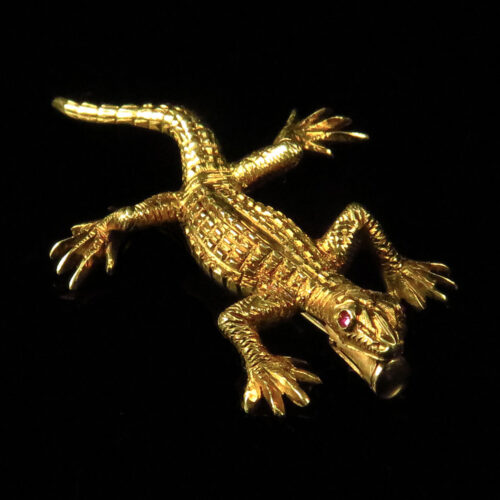 Buccellati Gold Lizard Brooch with Ruby Eyes