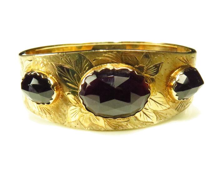 Dutch Gold Bangle with Large Rosecut Garnets