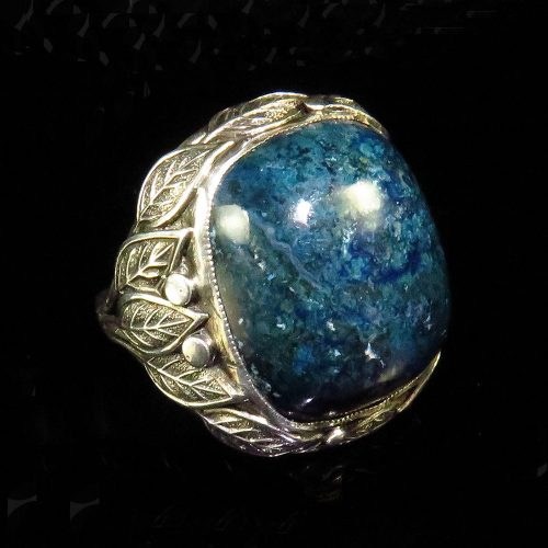 Arts & Crafts Sterling Ring with Blue Jasper