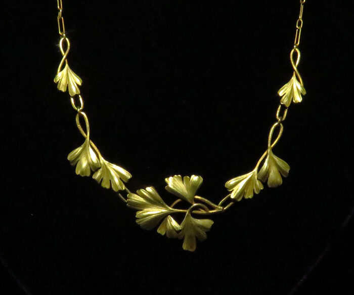 French Gold Art Nouveau Gingko Necklace