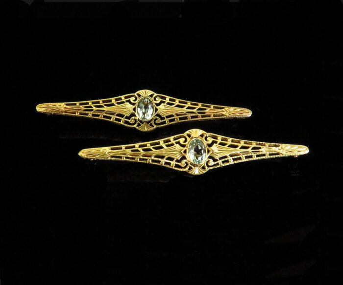 Edwardian Pair of Gold Aquamarine Brooches