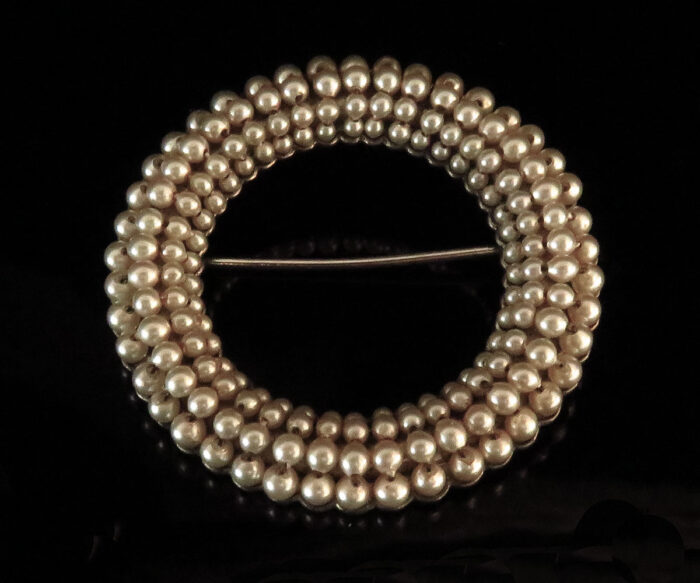 Ciner Sterling Circle Pin with Faux Pearls