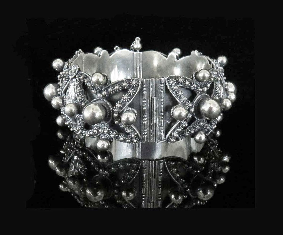 Vintage Italian Silver Cannetille Bangle
