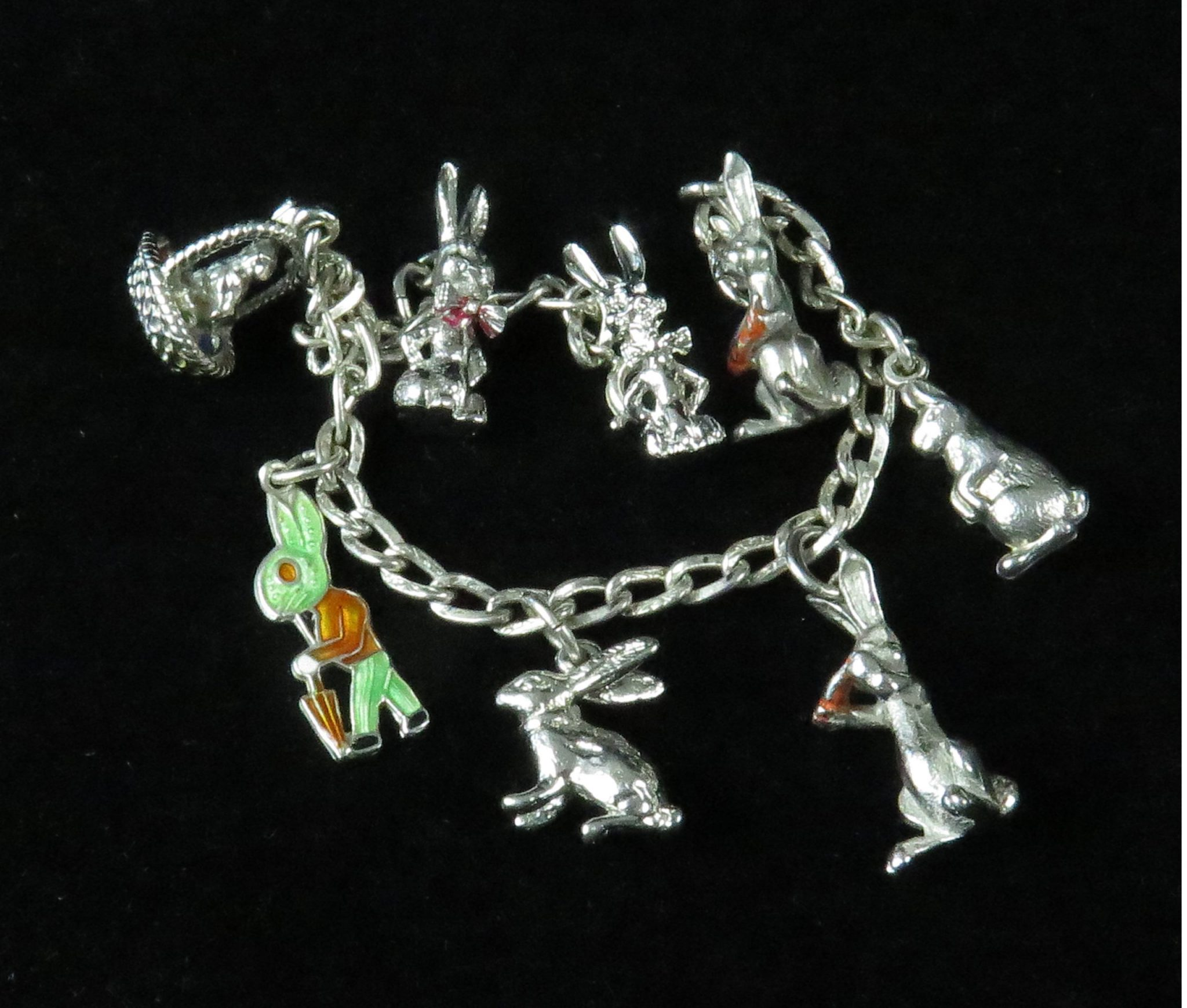 Sterling Rabbit Charm Bracelet