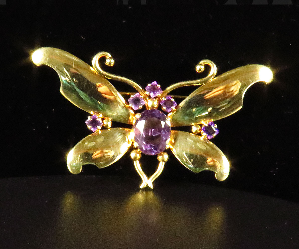 Retro Rose Gold & Amethyst Butterfly Pin