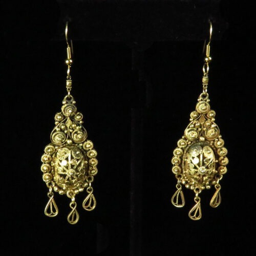 Silver Hanging Cannetille Palestine Earrings with Gold Wash