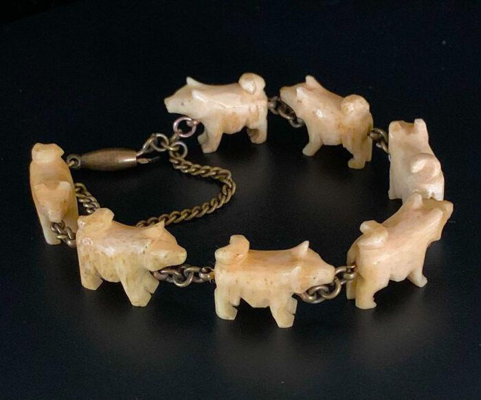 Vintage North West Coast Carved Bone Malamute Bracelet