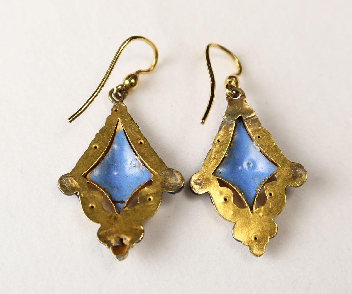 Gold Victorian Swiss Enamel Earrings and Brooch
