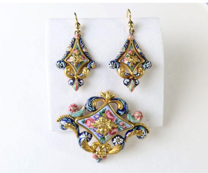 Gold Swiss Enamel Earrings and Brooch
